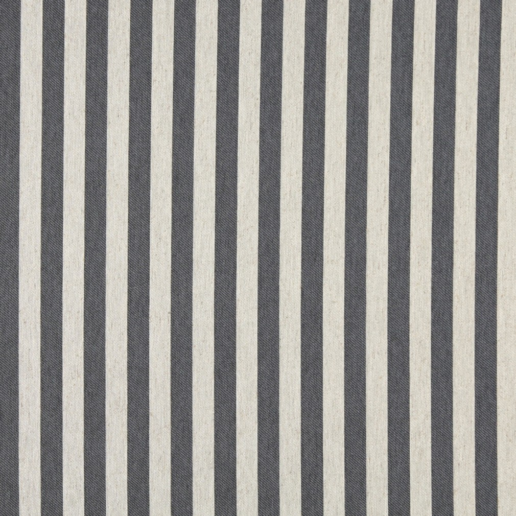 Cadet Blue And Off White Striped Upholstery Fabric By The Yard