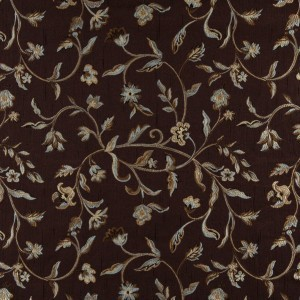 A0011F Brown, Light Blue, Gold And Ivory Floral Upholstery Fabric By The Yard