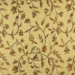 Gold, Brown And Ivory Floral Brocade Upholstery Fabric By The Yard