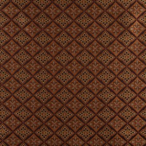 Brown, Gold, Persimmon And Ivory Diamond Brocade Upholstery Fabric By The Yard