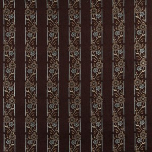 A0013F Brown, Light Blue, Gold And Ivory Floral Upholstery Fabric By The Yard
