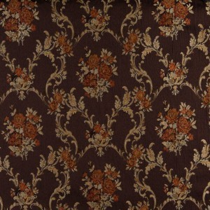A0014B Brown, Gold, Persimmon And Ivory Floral Upholstery Fabric By The Yard