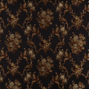 A0014C Midnight, Gold And Ivory Floral Brocade Upholstery Fabric By The Yard