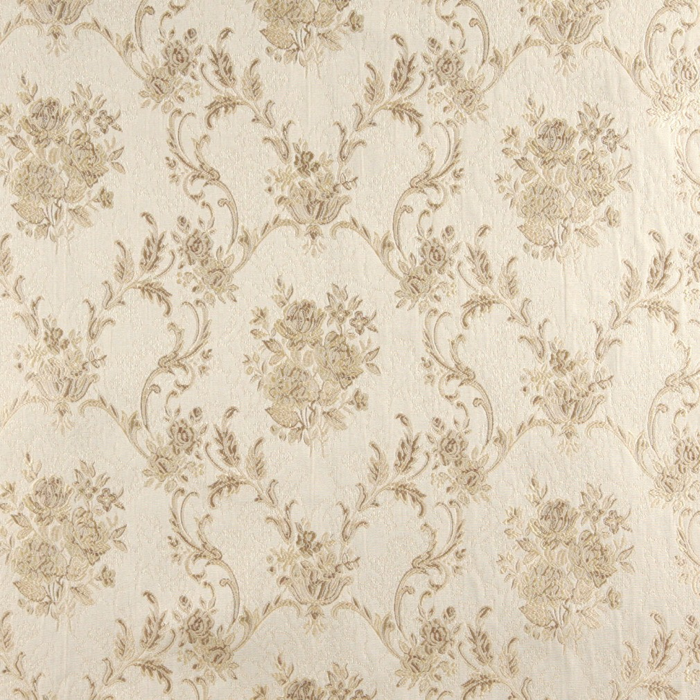 Ivory Large Scale Floral Brocade Upholstery Fabric By The Yard 1