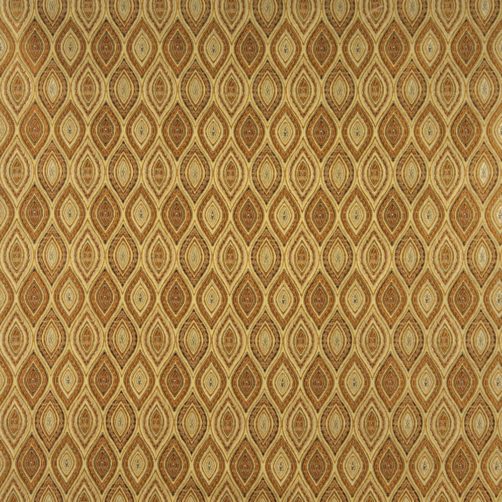 Gold, Brown And Ivory Pointed Oval, Brocade Upholstery Fabric By The Yard 1