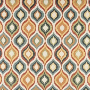 Red, Green, Blue, Orange And Gold, Contemporary Upholstery Fabric By The Yard