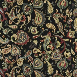 Red, Orange, Yellow, Green And Black, Paisley Upholstery Fabric By The Yard
