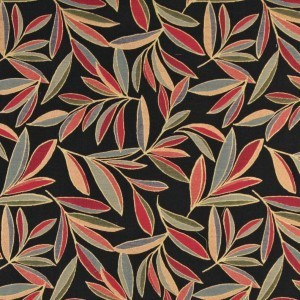 Red, Blue And Orange, Foliage Leaves Contemporary Upholstery Fabric By The Yard