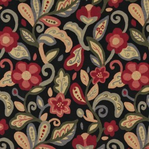 Green, Red, Orange And Black, Floral Contemporary Upholstery Fabric By The Yard