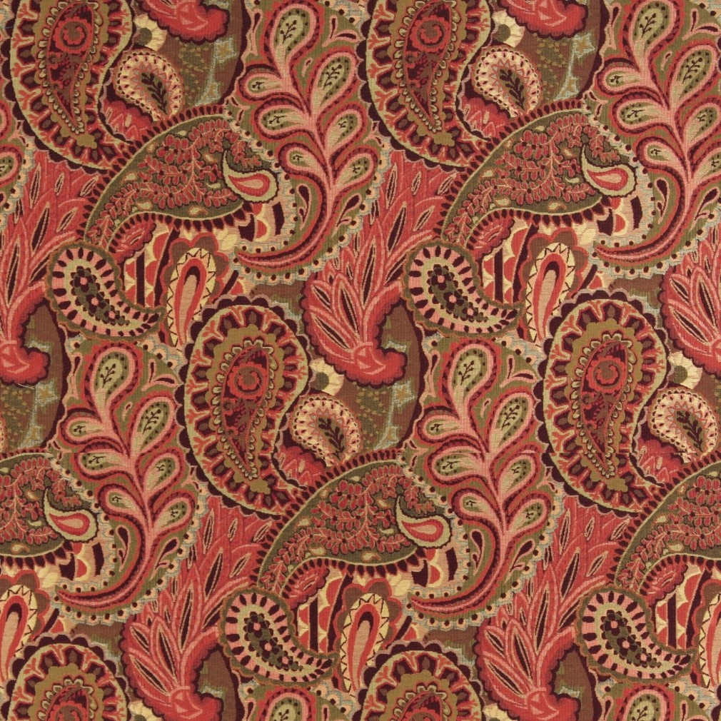 Burgundy, Green And Red Paisley Contemporary Upholstery Fabric By The Yard 1