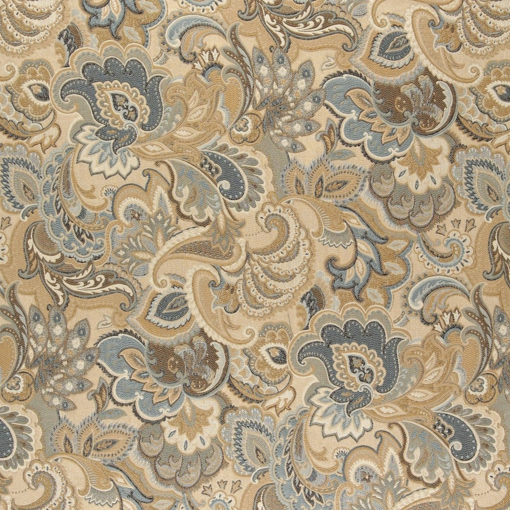 Gold, Blue And Green, Abstract Paisley Upholstery Fabric By The Yard 1