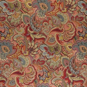 Green, Blue, Red And Gold, Abstract Floral Upholstery Fabric By The Yard