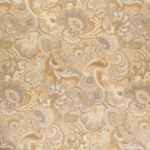 Gold And Beige, Abstract Floral Upholstery Fabric By The Yard