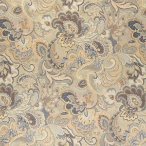 Blue, White And Gold, Abstract Floral Upholstery Fabric By The Yard