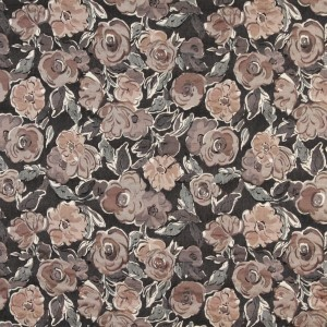 Grey, Off White, Beige And Rose, Flower Patterned Upholstery Fabric By The Yard