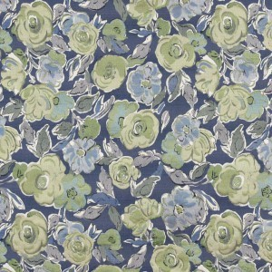 Blue, Green And White, Floral Contemporary Upholstery Fabric By The Yard