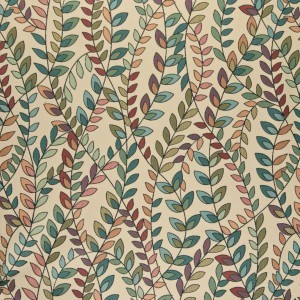 Teal, Green, Orange And Purple Leaves Contemporary Upholstery Fabric By The Yard