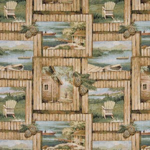 Cabin Outdoors Themed Tapestry Upholstery Fabric By The Yard