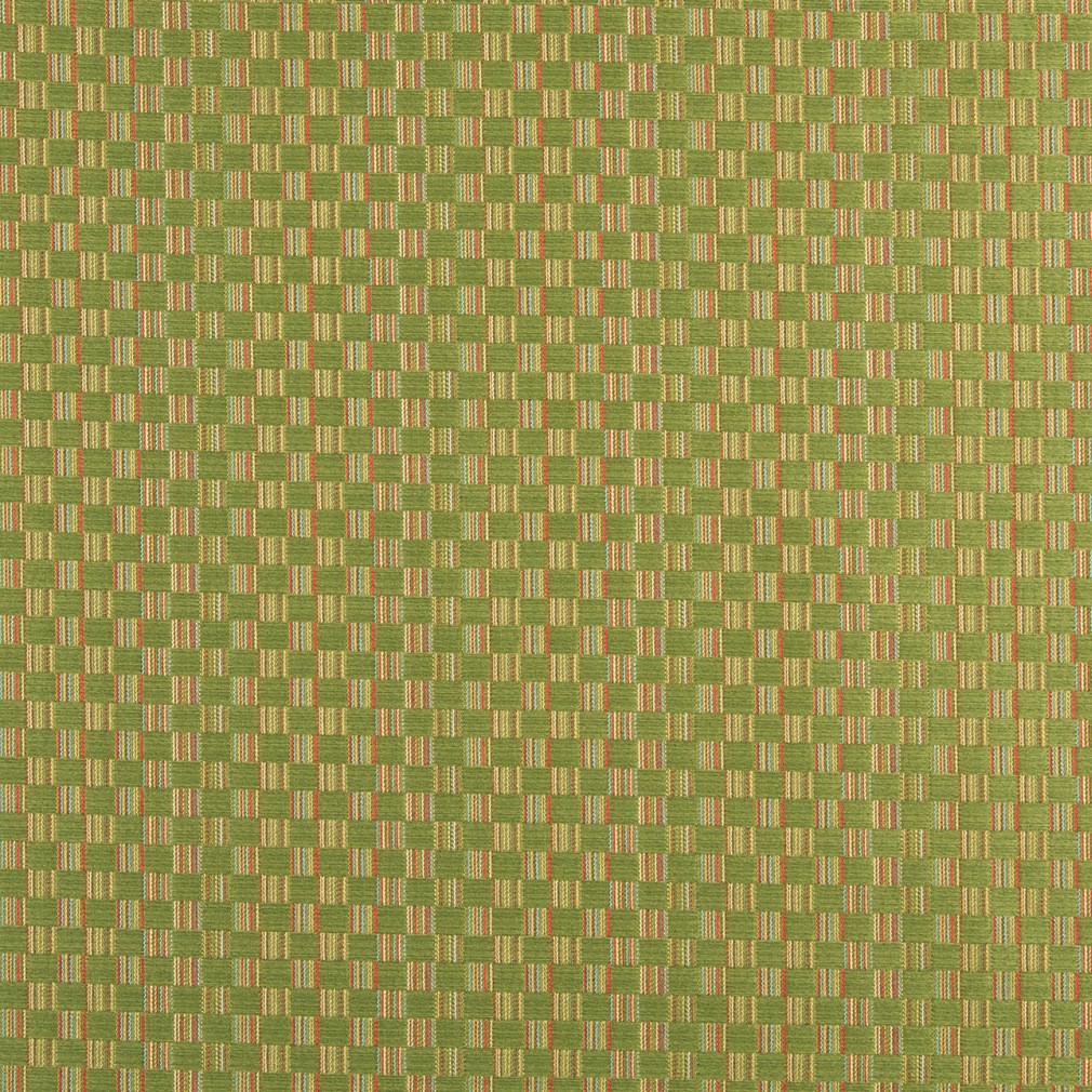Green, Red And Gold Checkered Upholstery Jacquard Fabric By The Yard 1