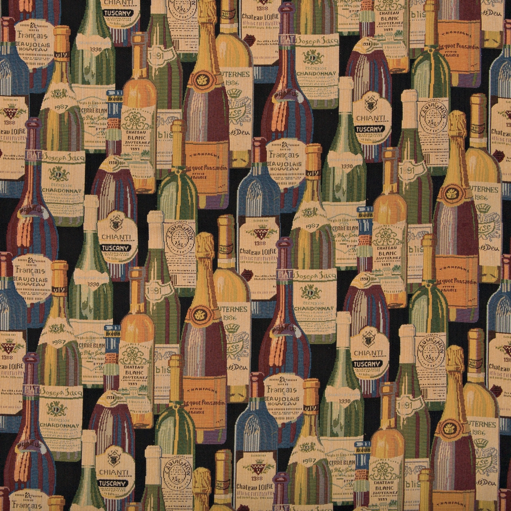 French And Italian Wine Bottles, Themed Tapestry Upholstery Fabric By The Yard 1