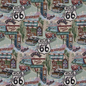 Classic Route 66 Themed Tapestry Upholstery Fabric By The Yard
