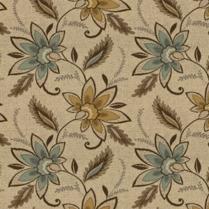 Beige, Brown And Teal Floral Vines Woven Outdoor Upholstery Fabric By The Yard