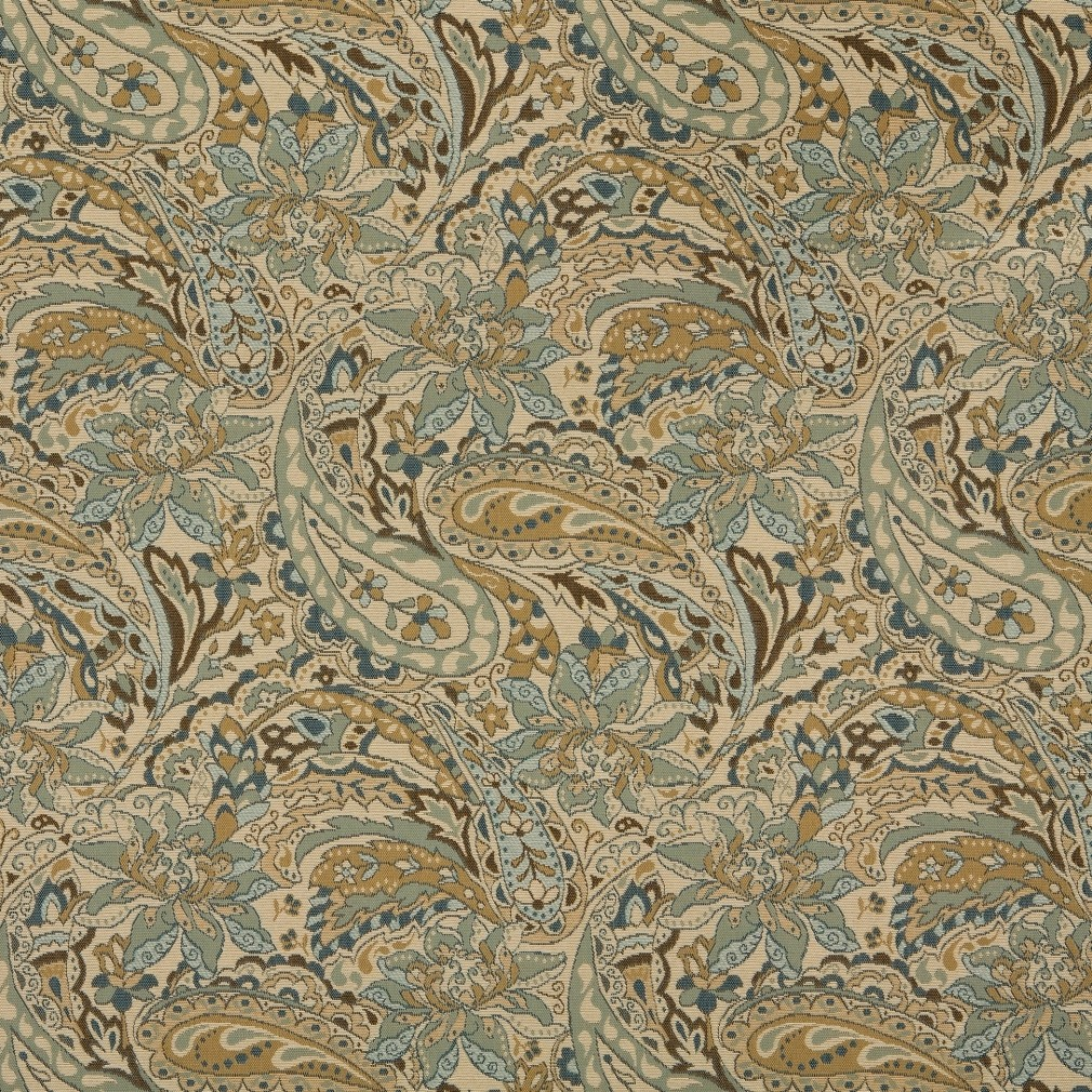 Tan beige brown and teal paisley woven outdoor for Upholstery fabric