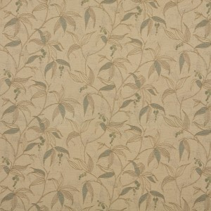 Beige, Tan And Teal Floral Vine Woven Outdoor Upholstery Fabric By The Yard