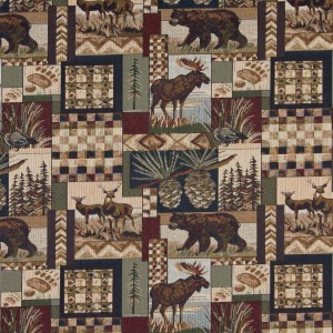 Wild Outdoors Themed Tapestry Upholstery Fabric By The Yard