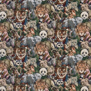 Zoo Animals Themed Tapestry Upholstery Fabric By The Yard