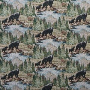Wilderness Bears Themed Tapestry Upholstery Fabric By The Yard