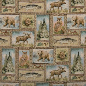 Wild Animals Themed Tapestry Upholstery Fabric By The Yard