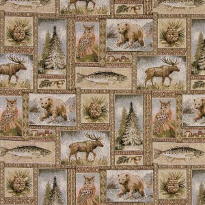 Rustic Wilderness Themed Tapestry Upholstery Fabric By The Yard