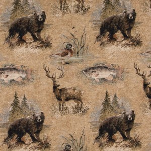 A026 Bears, Fish, Ducks And Deer Themed Tapestry Upholstery Fabric By The Yard