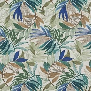 Teal, Beige And Green Vibrant Leaves Outdoor Print Upholstery Fabric By The Yard
