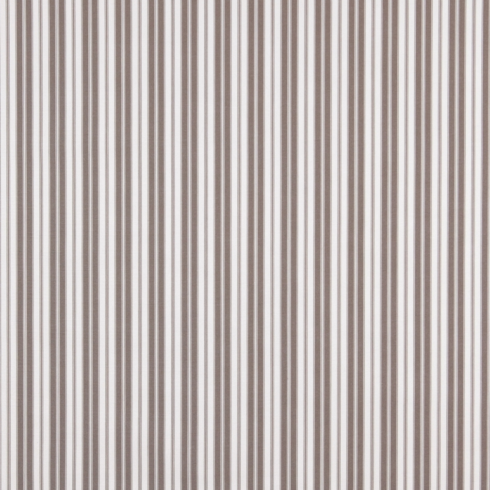 Grey Ticking Striped Indoor Outdoor Upholstery Fabric By