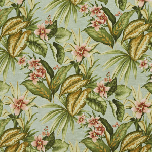 Green, Blue And Red, Floral Outdoor Indoor Upholstery Fabric By The Yard