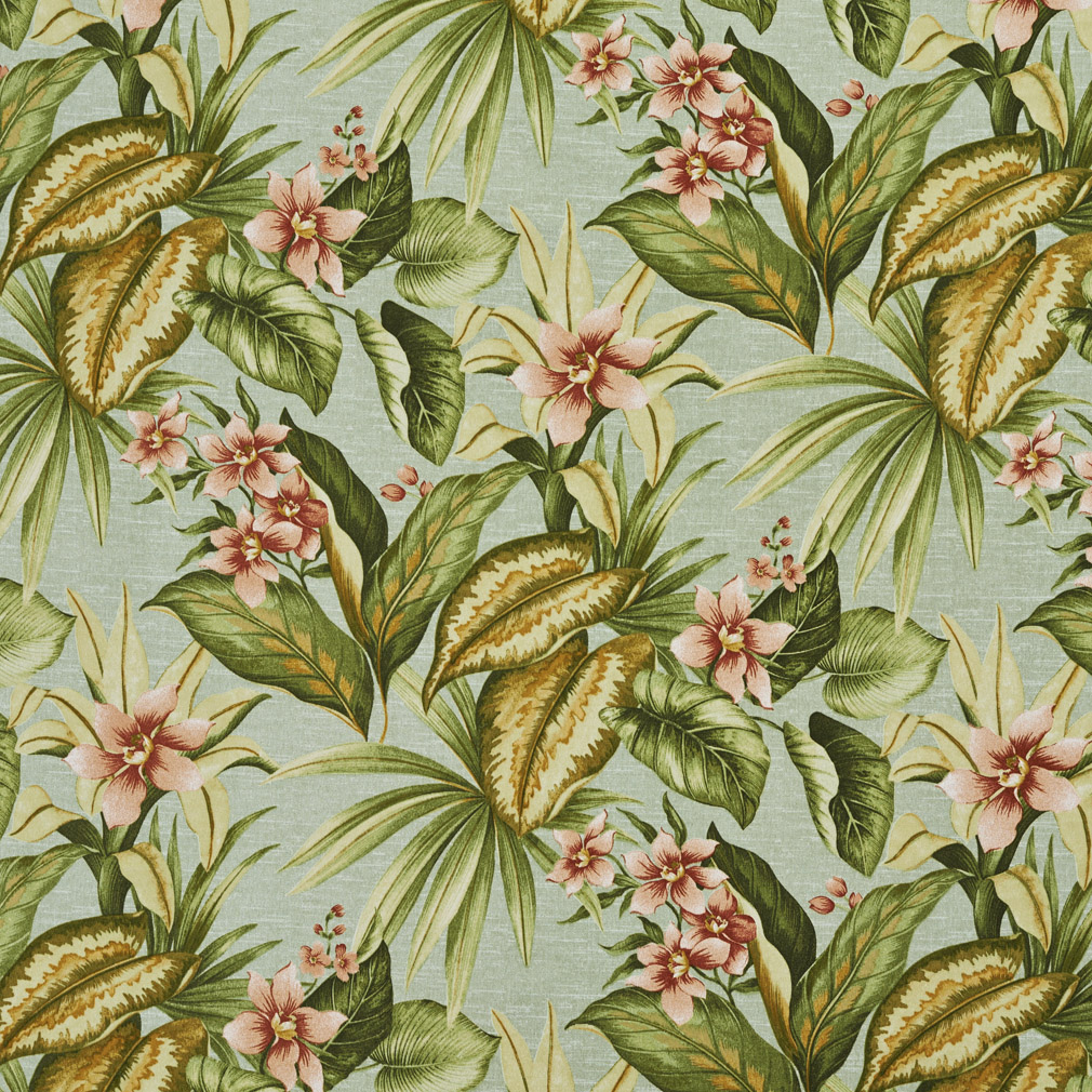 Green, Blue And Red, Floral Outdoor Indoor Upholstery Fabric By The Yard 1