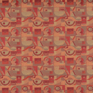 C572 Red Persimmon And Green Geometric Contract Upholstery Fabric By The Yard