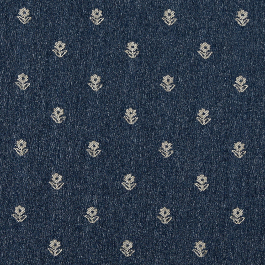 Navy Blue And Beige, Flowers Country Upholstery Fabric By The Yard 1