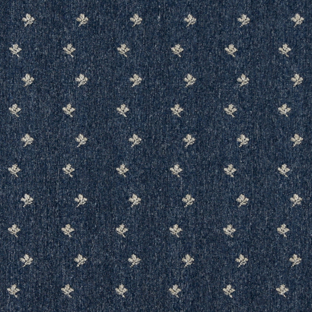 Navy Blue And Beige, Mini Flowers Country Upholstery Fabric By The Yard 1