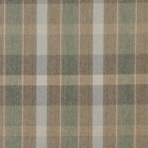 Brown, Green And Ivory, Large Plaid Country Upholstery Fabric By The Yard