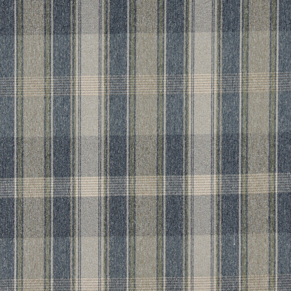 Blue, Green And Ivory, Large Plaid Country Upholstery Fabric By The Yard 1