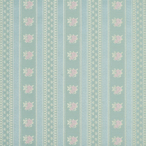 Gold, Pink And Blue, Floral Striped Brocade Upholstery Fabric By The Yard