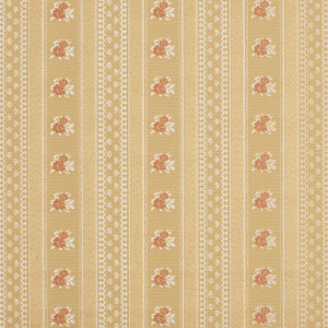 Gold, White And Red, Floral Striped Brocade Upholstery Fabric By The Yard