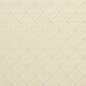 Gold, Pink And White, Diamond Brocade Upholstery Fabric By The Yard