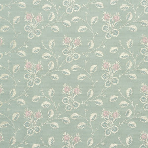 Gold, Pink And Blue, Floral Brocade Upholstery Fabric By The Yard