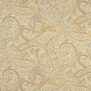 Gold, Blue And Bronze, Paisley Contemporary Upholstery Grade Fabric By The Yard