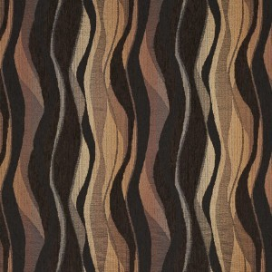 brown and black abstract striped chenille upholstery fabric by the yard