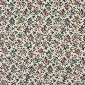 Beige, Burgundy And Green, Floral Flowers Tapestry Upholstery Fabric By The Yard